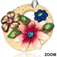 Akasztós fimo fülbevaló - bézs kör három virággal és cirkonkövekkel