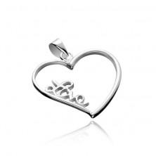 Ezüst medál - nagyobb szívkeret Love felirattal