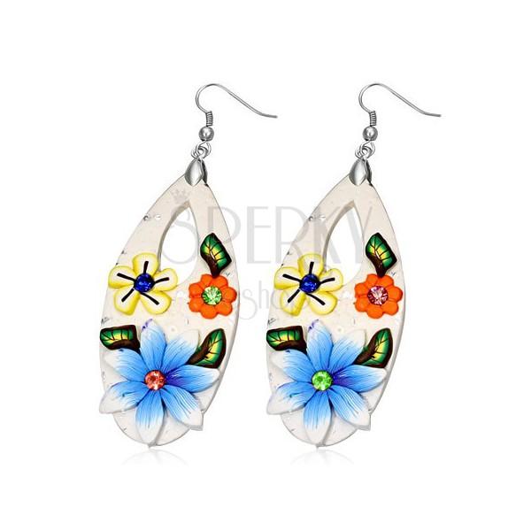 Gyurma fülbevaló - fehér könnycsepp színes virágokkal és cirkóniákkal