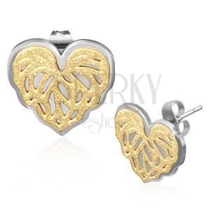 Bedugós fülbevaló - acél szívecske, aranyszínű szemcsés felület