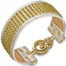 Bőrkarkötő - ezüstszínű, arany gömböcskékkel és karika kapoccsal