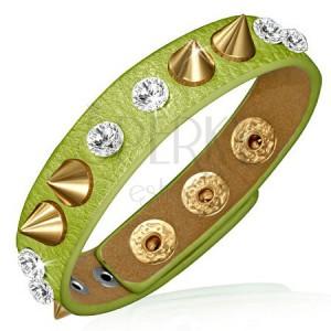 Bőrkarkötő - zöld szalag tiszta kövekkel és arany kúpokkal