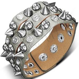 Karkötő bőrből - ezüstszínű kúpokkal, félgömbökkel és kövekkel