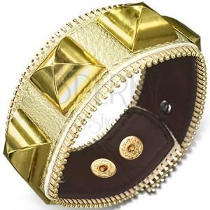 Aranyszínű csuklópánt - arany piramisok, cipzár