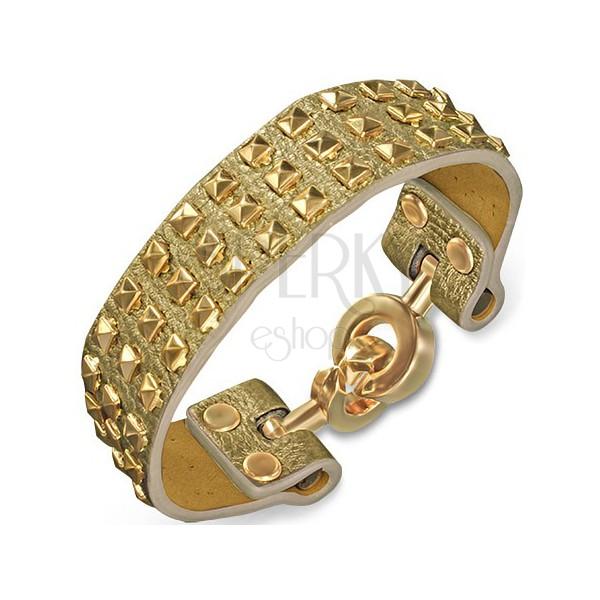 Karkötő bőrből - aranyszínű, piramisokkal és karika kapoccsal