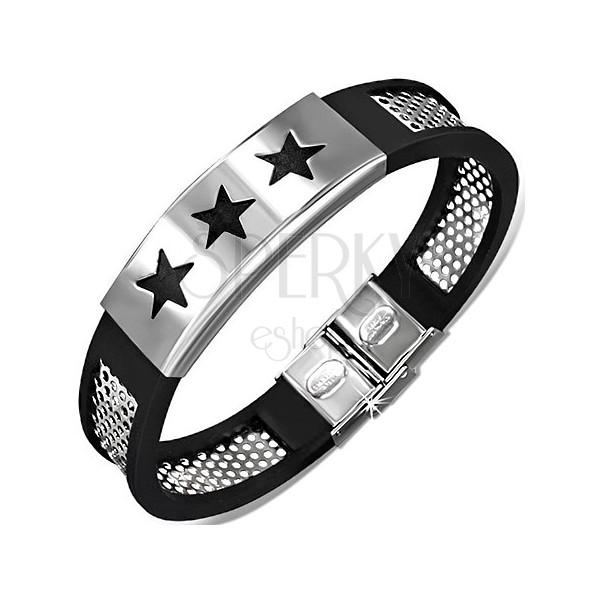 Kaucsuk karkötő - fekete, lyukacsos acéllap, csillagos tábla