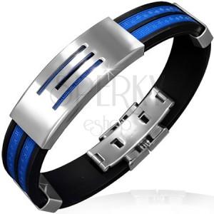 Fekete gumikarkötő kék sávokkal - acéltábla csíkokkal