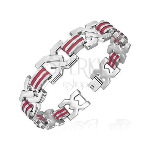 Acél karkötő gumi elemekkel - megcsavart X, piros