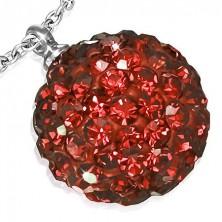 Shamballa függő acélból - gömb piros kövekből
