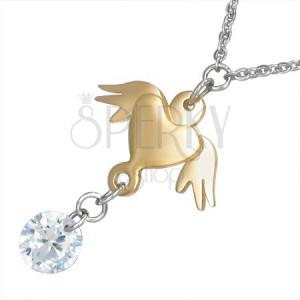 Nyakék acélból - lánc, arany színű szív szárnyakkal és tiszta kő
