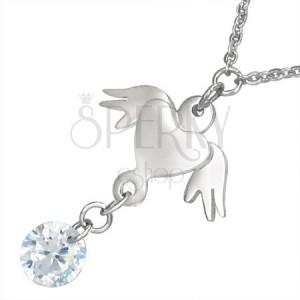 Nyakék acélból - lánc, ezüst színű szív szárnyakkal és tiszta kő