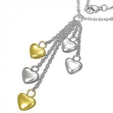 Nemesacél nyaklánc - ezüst és arany szívecskék láncokon