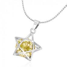 Fém nyaklánc - finom lánc, 3D csillag sárga cirkóniával