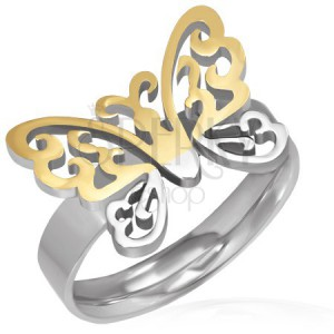 Sebészeti acél gyűrű - kivágott arany-ezüst pillangó
