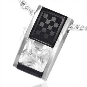Medál acélból - kétszínű csiszolt tábla cirkóniával és sakkmintával