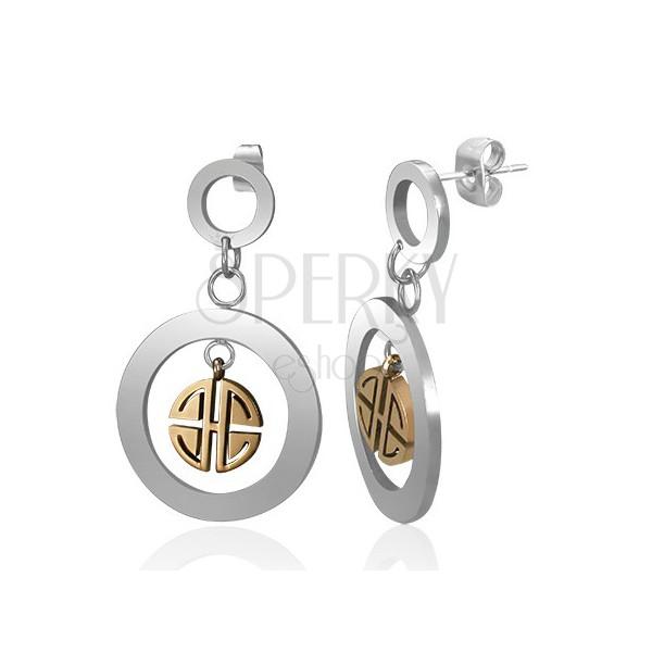 Függő acél fülbevaló - ezüst karika arany színű görög mintázattal
