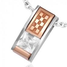Medál acélból - csiszolt tégla cirkóniával és bronz sakkmintával