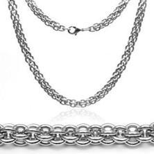 Sebészeti acélból készült nyaklánc - masszív, kettős fonás