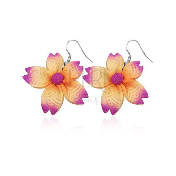 Fülbevaló FIMO anyagból - szabálytalan lila - narancsszín virág
