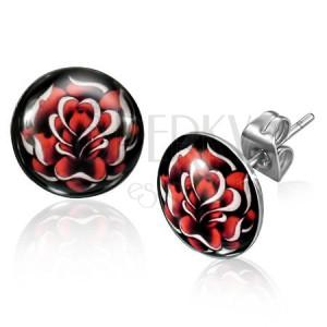 Orvosi acél bedugós fülbevaló - domború karika, fekete alapon piros rózsa