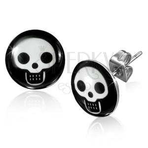 Bedugós acél fülbevaló - fehér koponya a fekete körlapon