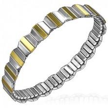 Karkötő acél elemekből - arany-ezüst nyolcszögek, rugalmas