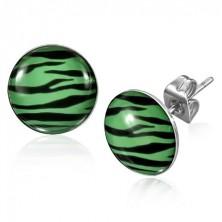 Bedugós acélfülbevaló - fekete és zöld zebraminta