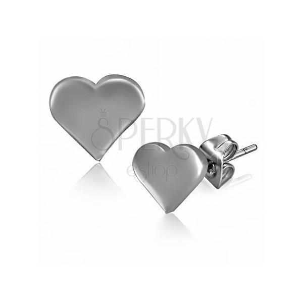 Rozsdamentes acél fülbevaló - fényes lapos szívecske