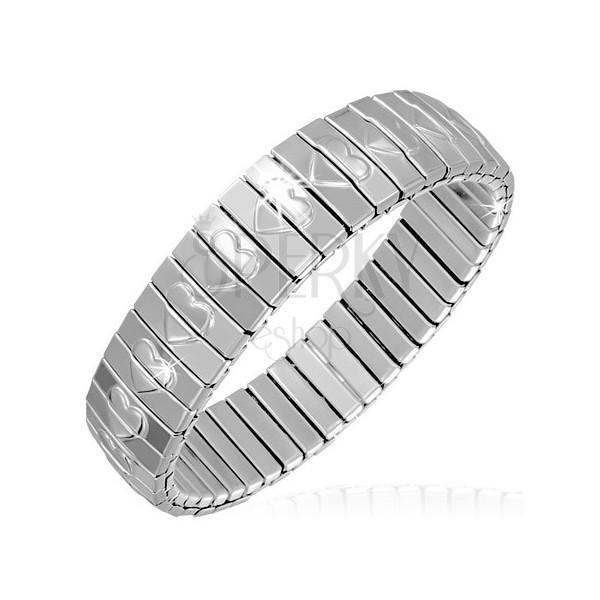 Karperec acél elemekből - ezüst színű szívecskemintás téglalapok, rugalmas
