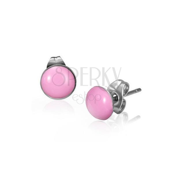 Bedugós rózsaszínű karika fülbevaló orvosi acélból