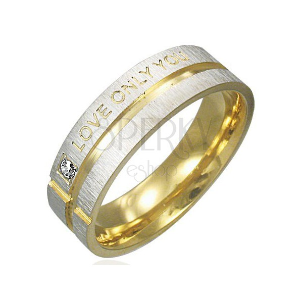 Gyűrű acélból - matt ezüst felület arany sávokkal, szerelmes felirattal