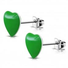 Orvosi acél fülbevaló - zöld szívecske, bedugós
