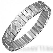 Ezüst színű acél karperec - hosszúkás elemek, rombuszok és vájatok