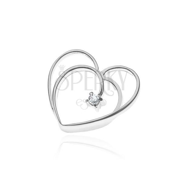 925 ezüst medál - dupla szívkeret, kis cirkónia