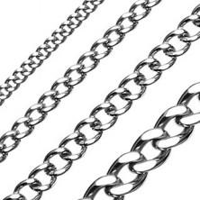 Sebészeti acélból készült csiszolt acél lánc, fényes, sima szemek, leegyenesített felülettel