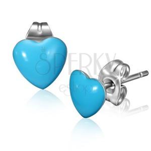 Bedugós fülbevaló acélból kék szívecske fejjel