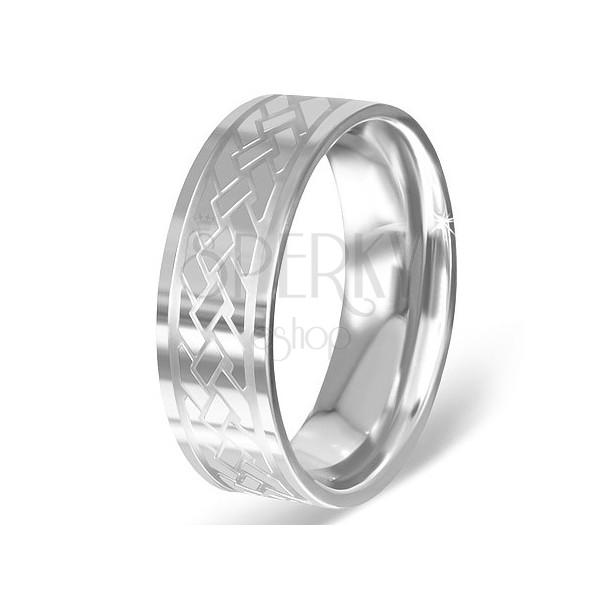 Karikagyűrű sebészeti acélból - gravírozott keltai csomók