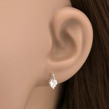 Ezüst fülbevaló - szív alakú cirkónia hosszított fogatban