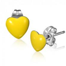 Minőségi acél fülbevaló - domború citromsárga szívecske