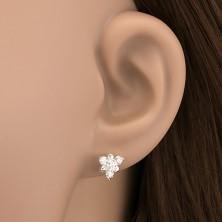 Fülbevaló 925 ezüstből - háromszög alakba rendezett cirkóniák és gömbök