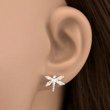 Ezüst fülbevaló - cirkonkő szárnyas szitakötők