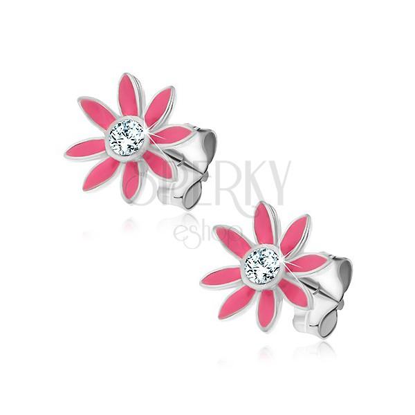 925 ezüst fülbevaló - rózsaszín margaréta, cirkónia