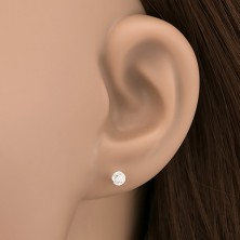 Ezüst fülbevaló - tiszta kő kör alakú kehelyben, 3 mm
