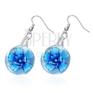 Akasztós fülbevaló  - kék virág üvegbúrában