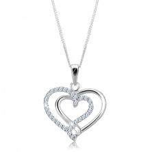 Ezüst nyakék - összekapcsolt sima és cirkonköves szív