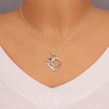 Nyakék 925 ezüstből - szív szalagokból LOVE felirattal