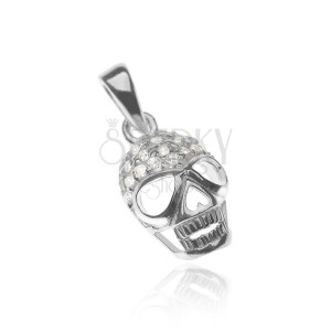 Függő 925 ezüstből - cirkóniákkal kirakott koponya