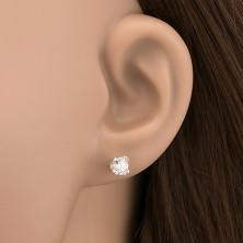 Ezüst fülbevaló - ragyogó cirkónia kehelyben, 5 mm