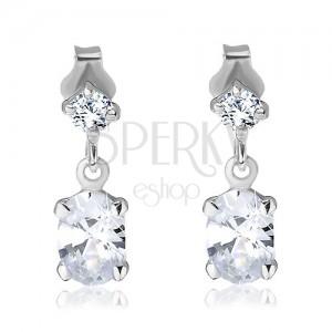 Fülbevaló 925 ezüstből - kis négyzetes kő és ovális cirkonfüggő