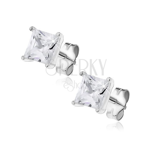 Fülbevaló ezüstből - négyzet alakú csillogó kő dupla fogatban